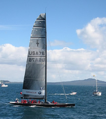 America's Cup Boat in the Bay by Chitani