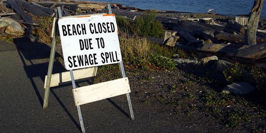 Sewage spill warning sign