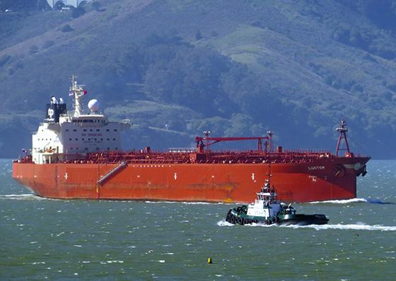 Oil tanker on the Bay