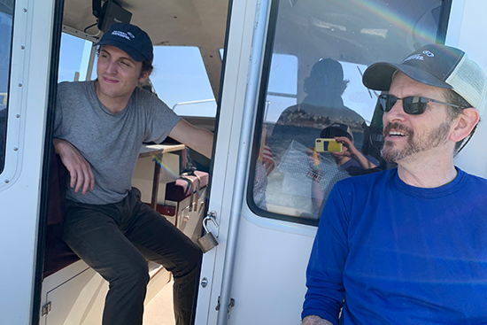 Cole and Jon on the Baykeeper boat