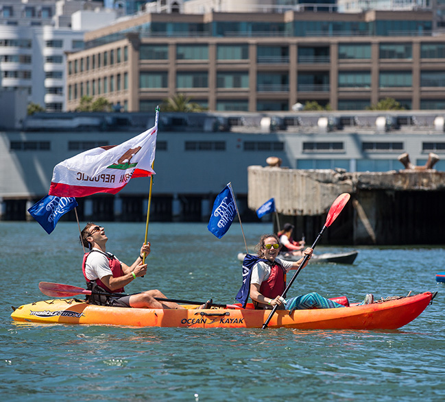 Kayakers in the Bay Parade