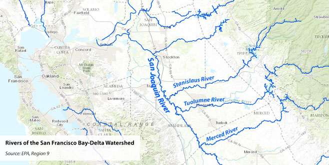 Bay-Delta river map