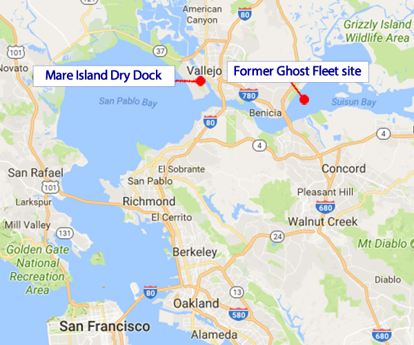 Ghost Fleet site and Mare lsland Dry Dock Map