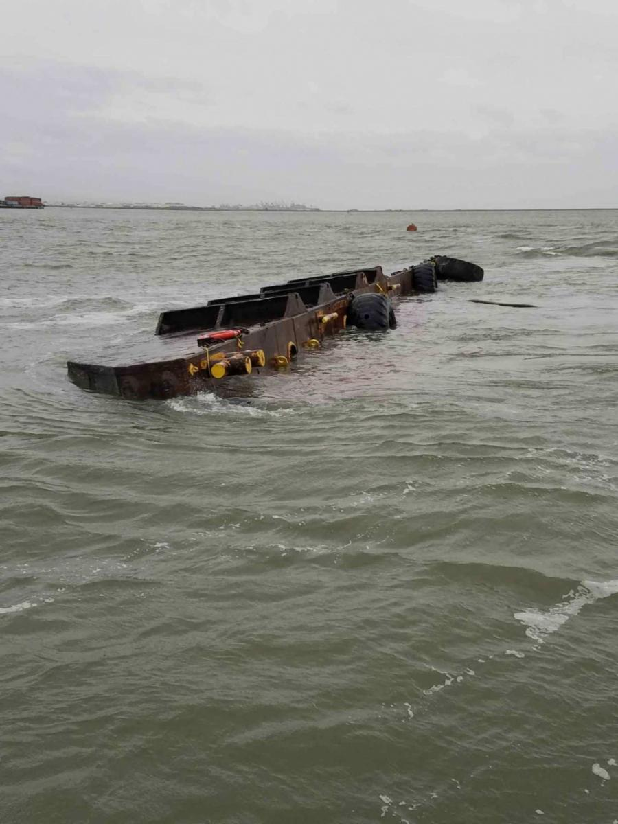 Sunken barge in the Bay